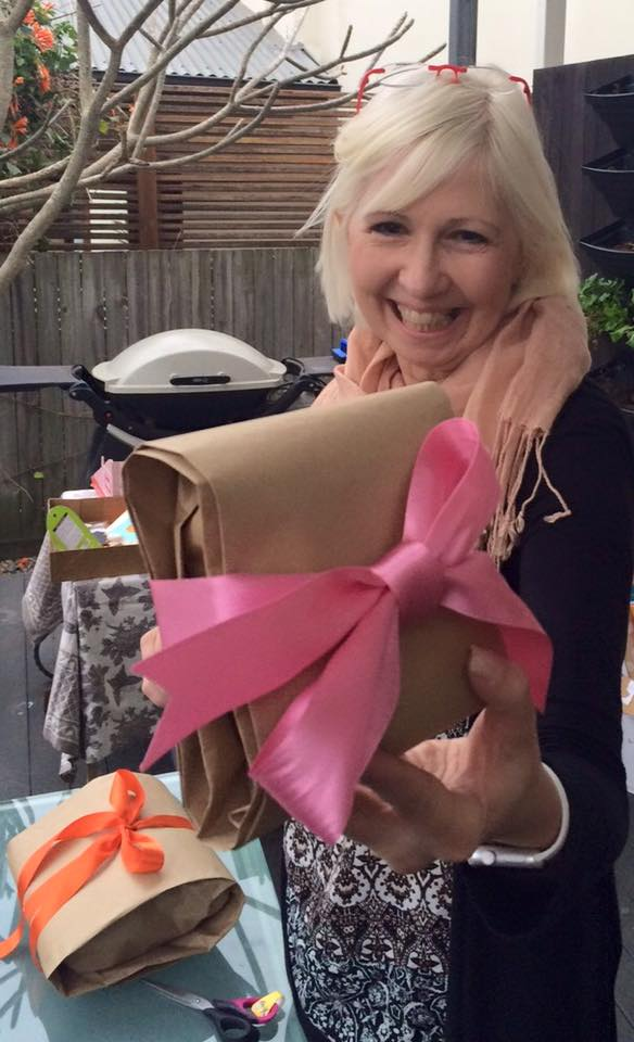 Susan shows off her pouch gift wrap at one of our private gift wrap parties in Brisbane. The girls were learning how to wrap oddly shaped gifts
