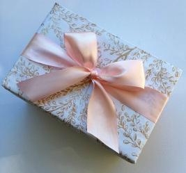 Big Box gold leaf and pink ribbon