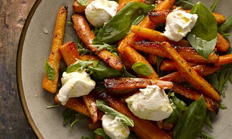 Yotam Ottolenghi's orange-roasted carrots with rocket and ricotta