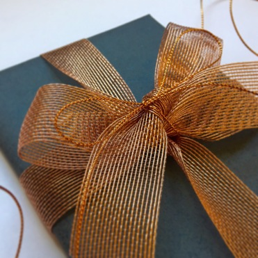 Graphite Gift Wrap with Copper Ribbon